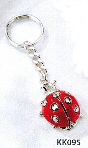 Portachiavi coccinella rossa kikke cm7 inserti argentati laminato argento made in italy