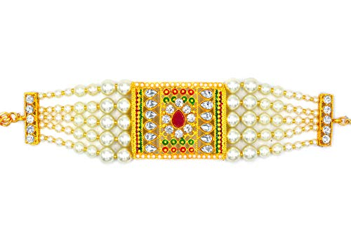 Aashya Mayro High Gold Plated, Green and Maroon meenakari, Kundan and CZ Diamond Stone Studded, White Pearl Adjustable Bracelet, Kada, Bajuband for Women Girls