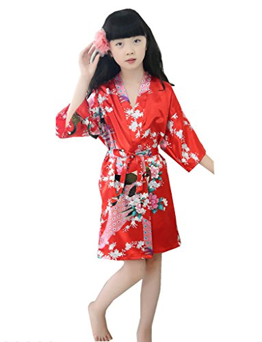 Girls Summer Satin Dressing Gown Robe, Red Age 8-10