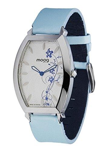 Moog Paris Urban Lady Montre Femme avec Cadran Blanc, Bracelet Bleu en Cuir Véritable - M45052-004
