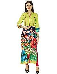 grün phagun Frauenbaumwollmischung kurti ethnischen kurta lässig Sommer Tunika