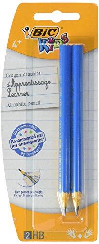 BIC Kids Jumbo Triangular Learner Lápices de Grafito HB - Diseño en Azul o Rosa, Blíster de 2 unidades