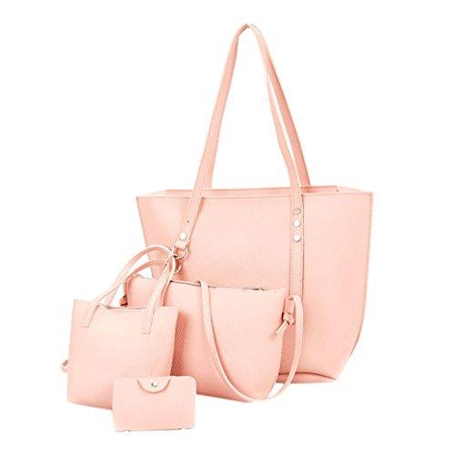 Resplend Damen Rucksack Handtasche + Umhängetasche + Messenger Taschen + Geldbörse 4Pcs Frauen Muster PU Ledertaschen (Rosa)
