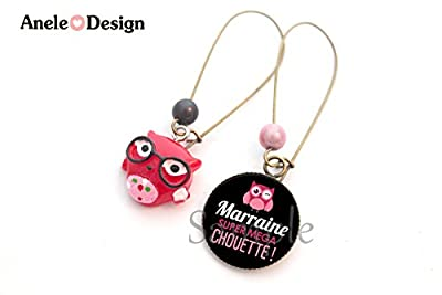 Boucles d'oreille Marraine - Marraine Super Mega Chouette! - noir rose crayon rose