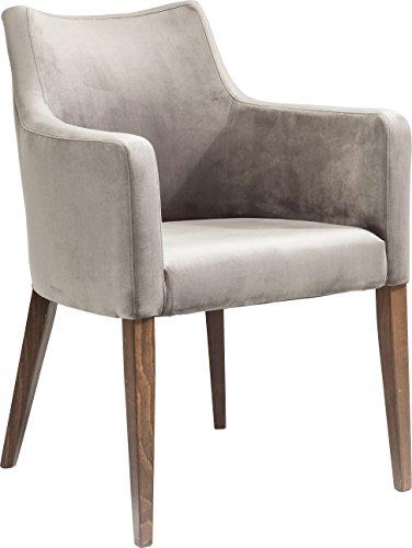 Kare Design Armlehnstuhl Mode Velvet Grey, moderner, bequemer Esszimmerstuhl, gepolsterter Essstuhl, Grau (H/B/T) 87x60x70cm