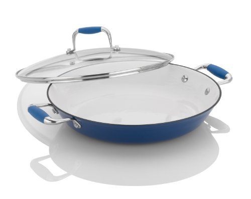 Fagor Michelle B. 12-Inch Cast Iron Lite Chef's Pan with Glass Lid, Blue by Fagor