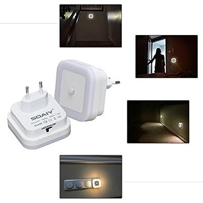 SOAIY LED Nachtlicht mit Bewegungsmelder und Helligkeitssensor energiesparend Steckdosenlicht PIR Sensorleuchte Orientierungslicht Schlafzimmer Kinderzimmer Badezimmer Flur Treppe