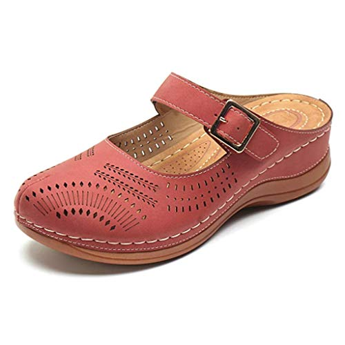 SEHRGUTGE Women's Wedge Closed Toe Clogs Hausschuhe - Bequeme Hohlsandalen Weiche Laufsohle Schuhe (Flamenco Kostüm Beschreibung)