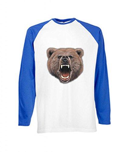 Simply Tees Orso Bite per adulti a maniche lunghe maglietta da Baseball White / royal