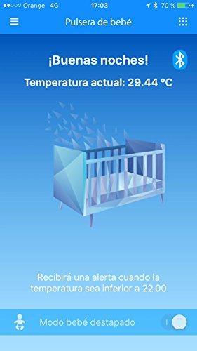Lifevit BT-125 Termómetro inteligente para bebé, Conexión Bluetooth con móviles y tablets, Alarma configurable en APP, Alta precisión