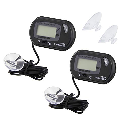 CODIRATO 2 Stück Aquarium Thermometer -50°C to 70°C LCD Digital Wasser Thermometer mit Saugnäpfen für Terrarium, Aquarium und Vivarium