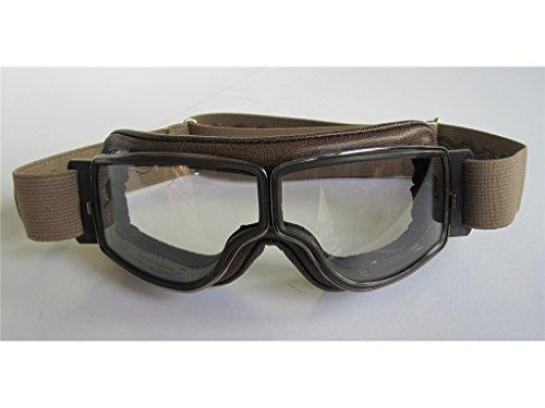 Aviator Motorradbrille T2 gunmetal, Leder braun, Gläser klar