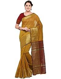 Pisara Women's Chanderi Silk Saree With Blouse Piece, Mustard Sari