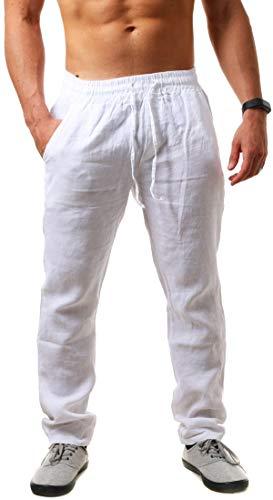 Young & Rich Herren Leinenhose Sommerhose 100% Leinen mit Kordelzug Straight Regular Fit S4103, Grösse:XXL, Farbe:Weiß