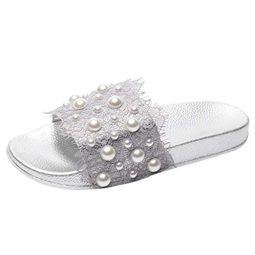 Pingtr - Damen Sandalen/Strandschuhe Hausschuhe,Damen Low Heel Lace Pearl Outdoor Flache Strand Sandalen Schuhe Hausschuhe