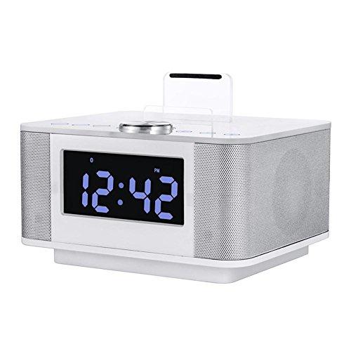HEDDK Nachtwecker mit FM-Radio, USB, zum Aufladen an iPod/iPhone, Bluetooth, Freisprecheinrichtung