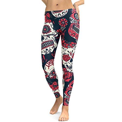 Legging Sport Femme Pantalon Taille Haute Skinny Yoga Gym Fitness Running Sport Chic SANFASHION(38FR, Rouge)