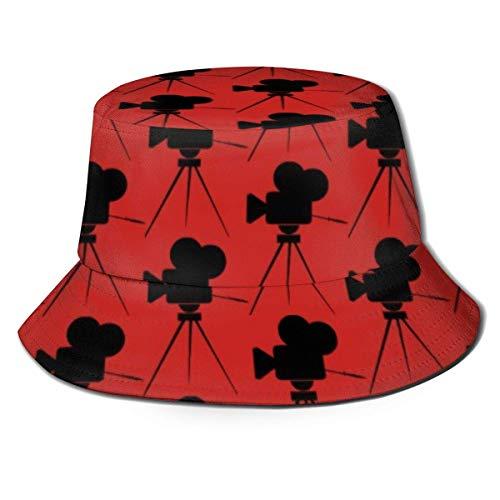Felsiago Vintage Filmkamera Muster Rot Heimkino Eimer Hut Reversible Fisherman Cap Packable Sommer Sonnenschutzkappe für Frauen Männer