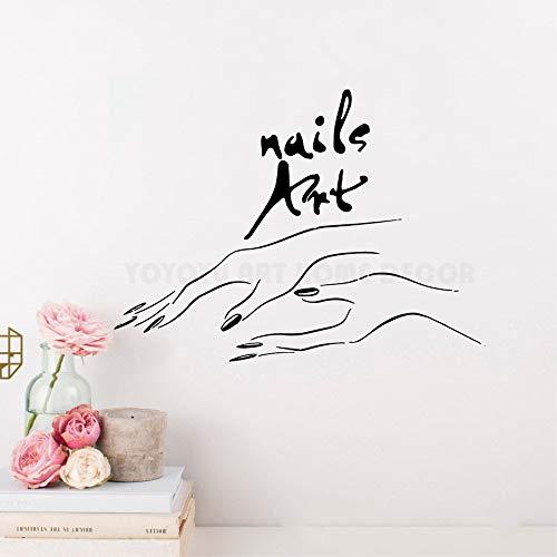 Wandtattoo Nail Art Hände Wandaufkleber Polnischen Nagel Schönheitssalon Fenster Wandtattoo Aufkleber Mode Make Up Wandbild 57X77CM
