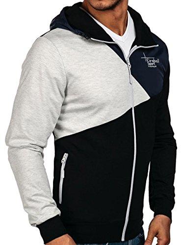 BOLF Kapuzenpullover Sweatshirt Hoodie Kapuze Pullover mit Reißverschluss Mix 1A1 Schwarz_1110