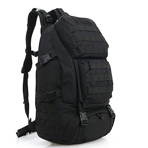 aiyuda Outdoor 20L Militär Rucksäcke Rucksack Tactical MOLLE 1000D Nylon groß wasserdicht Assault Pack für Camping Trekking Wandern schwarz - schwarz