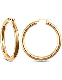 Jewelco London Ladies 9ct Yellow Gold Polished 4mm Hoop Earrings 38mm