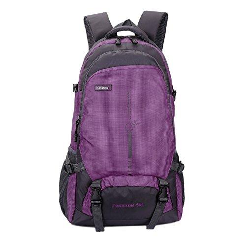 LINGE-Sacchetti di alpinismo impermeabile borsa libro amanti per essere escursionismo all'aperto per il tempo libero zaino per Notebook 45L , rose red Purple