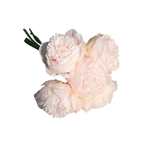 Longra Künstliche Seide gefälschte Blumen Pfingstrose Kunstblume Blumenstrauß Blumen-Bouquet Bridal Bouquet Blume Hochzeit Home Party Dekoration 5 Köpfe Bouquet (G) - 3