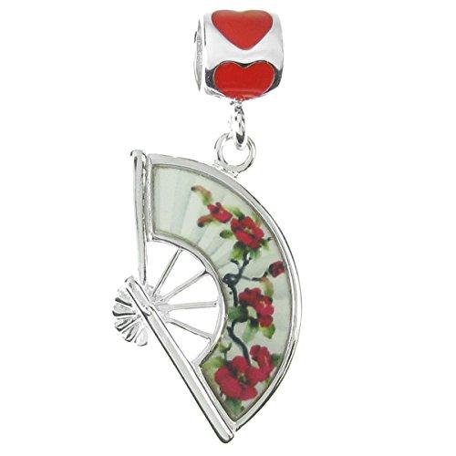 Queenberry Sterling Silber Emaille Oriental Style Flower Fan im europäischen Stil Dangle Bead Charm