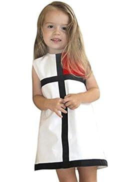 Amlaiworld Vestito per bambini,Colore della cintura dolce Croce collare Dress