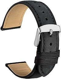 WOCCI 20mm Cinturino in Pelle Retro Compatibile con Molti Tipi di Orologi (Nero)