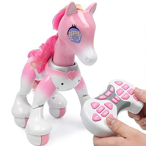 Rclhh Elektronisches Haustier-Pferd,Elektrischer Intelligenter Fernsteuerungs Einhorn Roboter Zum Berühren, Gehen, Jagen Und Spaß-Tätigkeiten,Pink