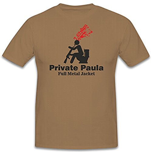 Private Paula 7,62mm Full Metal Jacket Film Kopfschuss Klo - T Shirt #7771, Farbe:Sand, Größe:Herren M -