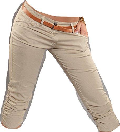 R caprihosen, plissés au niveau des jambes avec ceinture koucla by in-stylefashion sKU 0000CK-h107 Beige - Beige