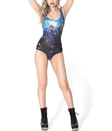 LYFLYF Badeanzüge Der Frauen Einteiler-Bikini-Schwimmen-Kostüm-reizvolle Badebekleidung Druck-Bauch-Steuerung 3D Die Halo-hohe Elastizität-Badeanzüge Abnimmt,Blue-OneSize (Halo Blue Kostüm)