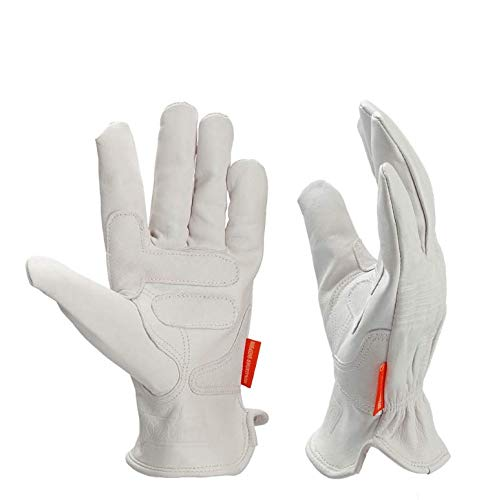 M//L//XL Guanti da lavoro per giardinaggio in pelle Kim Yuan//taglio//costruzione//Moto uomini e donne bianco cinturino elastico con palmo
