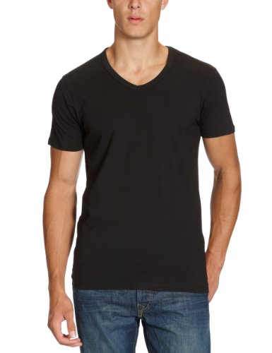 JACK & JONES Herren T-Shirt BASIC V-NECK TEE S/S NOOS, Einfarbig, Gr. XX-Large, Schwarz (BLACK C-N10) (Logo Long Tee Sleeve Basic)