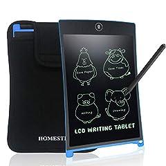 Idea Regalo - NEWYES Tavoletta Grafica LCD con Custodia, 8.5 Pollici Tablet da Disegno Lavagna Elettronica Scrittura Digitale, Diversi Colori per Bambin(Blu+Caso)