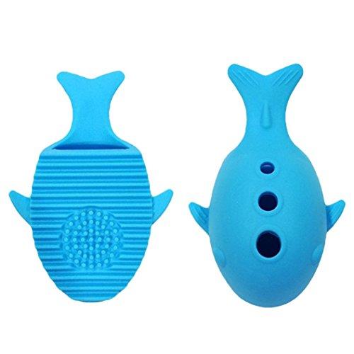samLIKE Whale Silikon Make-Up Pinsel Reinigung Waschen Halter Werkzeuge Kosmetik Bord Ständer (Blau)