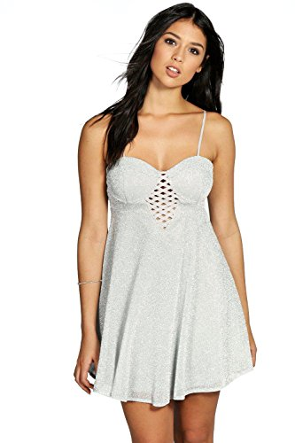 Femmes Argent Boutique Roxy Metallic Silver Lattice Dress Argent