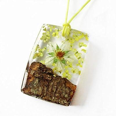Pendentif Kristen en bois, résine et fleurs - Bijou nature fleuri Collier en fleurs séchées argent 925 collier végétal