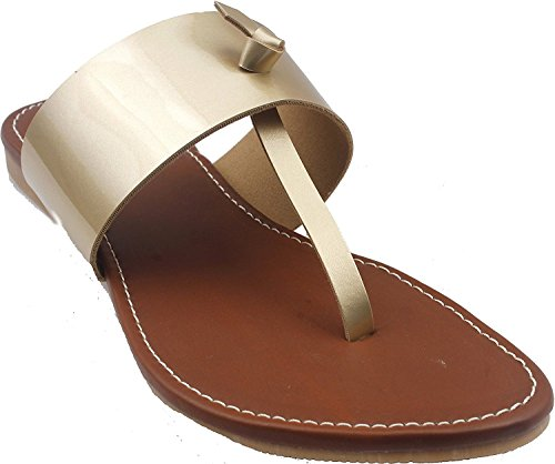Leather Flats | Classy Ladies Slippers |Formal Ladies Flats (6 UK/ India (39 EU), Gold)