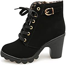 bottes femme filles chaussures,Femmes hiver bottes Femmes filles à la mode  haut talon lacet dc48bc250f2b