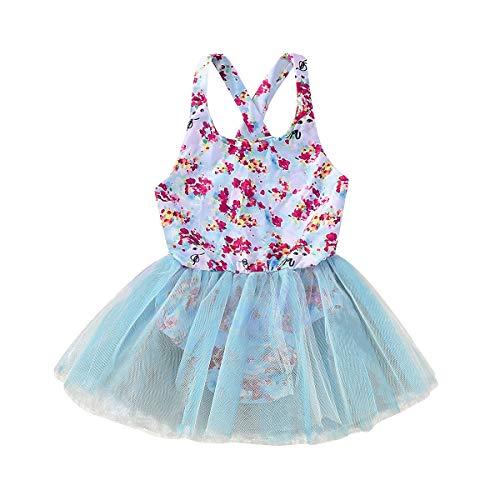 Baby Girl Mesh Floral Einteilige Badebekleidung, Casual Beach Monokini Beachwear Badeanzug (Color : Blau, Size : 5-6t)