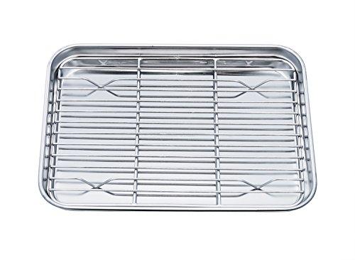 Für Fleisch-racks Ofen (teamfar Mini Ofen Ablage mit Kühlung Rack, Edelstahl Bräter und Rack-Set, 20x 26x 2,5cm, gesunde & Nicht giftig, Rost free & easy zu reinigen–Spülmaschinenfest)