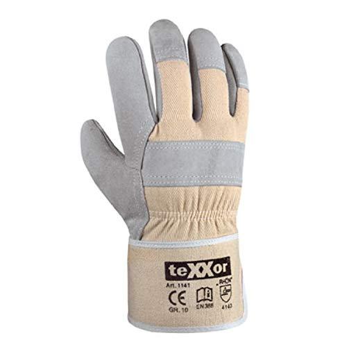 teXXor 12 Paar TOP Rindkernspaltleder-Handschuhe RHÖN Größe 10