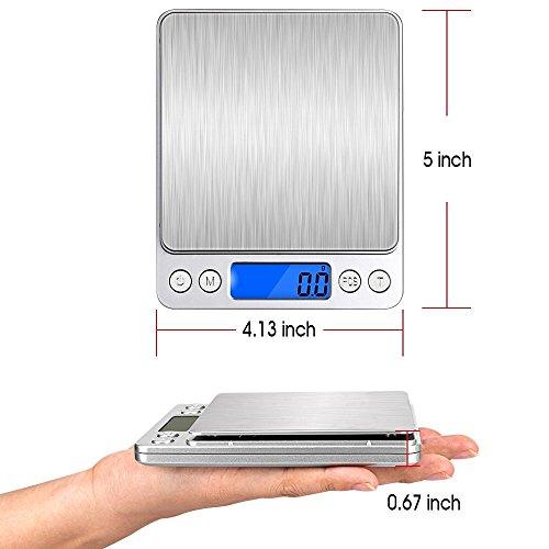 Digitale Küchenwaage IDAODAN 3000*0.1g Lebensmittel Grammschuppen Electronische Professionelle Waage Feinwaage mit Beleuchteter LCD-Anzeige Silber - 5