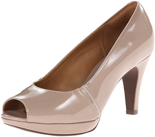 Clarks Narine Rowe Platform Pump Taupe Synthetic Patent