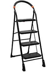 BRANCO 4 Step Folding Powder Coated Steel Pipes, Polypropylene Copolymer Wide Steps, Rubber Boots, Foam Clad Handles Ladder