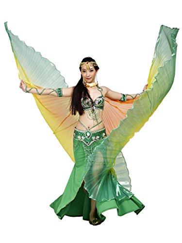 Halloween Girl Boxing Kostüme (Dance Fairy Regenbogen Bauchtanz Isis Flügel Mit den Stöcken / Stäben (Orange-Gelb-Grün)
